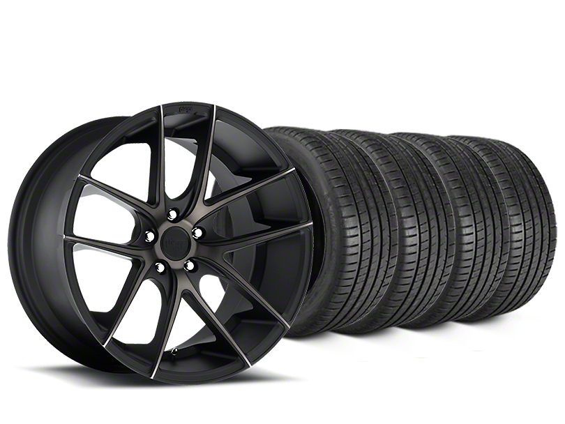 Staggered Niche Targa Matte Black Wheel & Michelin Pilot Super Sport Tire Kit - 20 in. - 2 Rear Options (05-14 All)