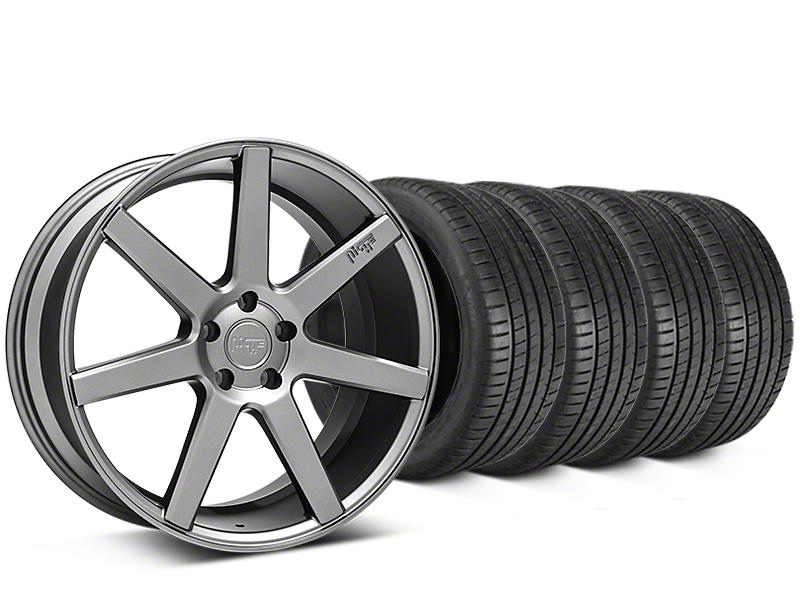 Staggered Niche Verona Anthracite Wheel & Michelin Pilot Super Sport Tire Kit - 20 in. - 2 Rear Options (05-14 All)