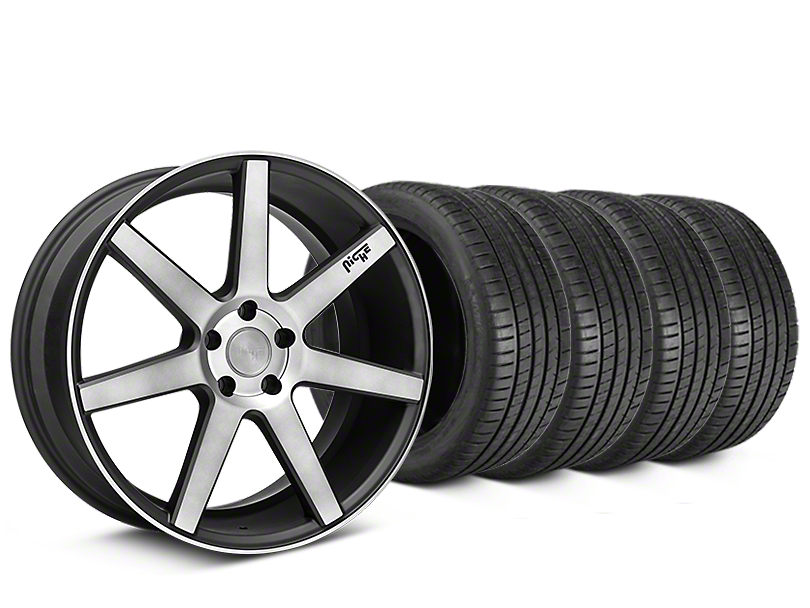 Staggered Niche Verona Double Dark Wheel & Michelin Pilot Super Sport Tire Kit - 20 in. - 2 Rear Options (05-14 All)