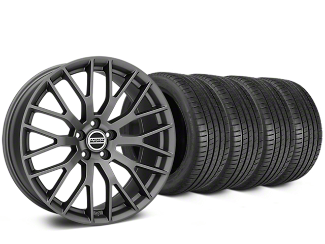 Staggered Performance Pack Style Charcoal Wheel & Michelin Pilot Super Sport Tire Kit - 20 in. - 2 Rear Options (05-14 All)