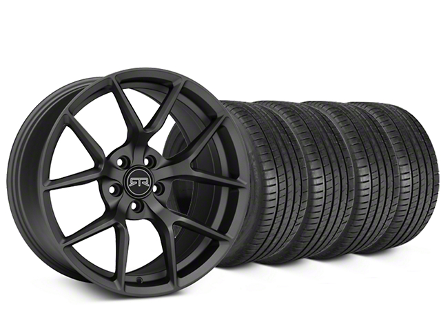 Staggered RTR Tech 5 Charcoal Wheel & Michelin Pilot Super Sport Tire Kit - 20 in. - 2 Rear Options (05-14 All)