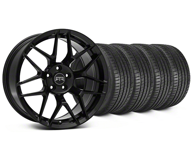 Staggered RTR Tech 7 Black Wheel & Michelin Pilot Super Sport Tire Kit - 20 in. - 2 Rear Options (05-14 All)