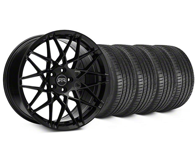 Staggered RTR Tech Mesh Black Wheel & Michelin Pilot Super Sport Tire Kit - 20 in. - 2 Rear Options (05-14 All)