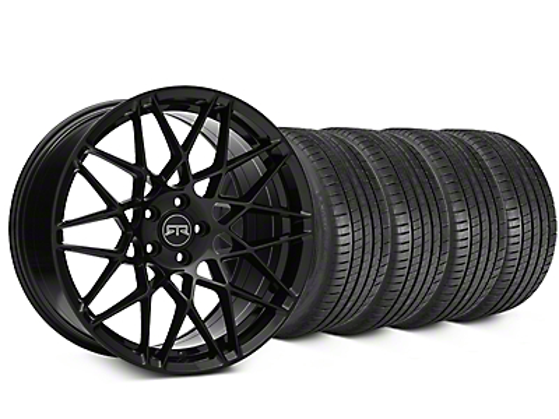 Staggered RTR Tech Mesh Black Wheel & Michelin Pilot Super Sport Tire Kit - 20 in. - 2 Rear Options (05-14 All)