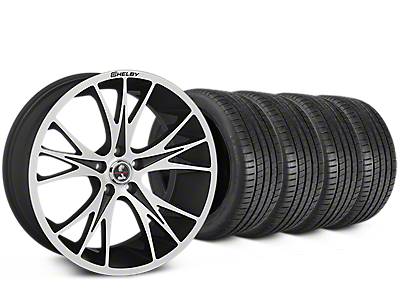 Staggered Shelby CS1 Black Machined Wheel & Michelin Pilot Super Sport Tire Kit - 20 in. - 2 Rear Options (05-14 All)