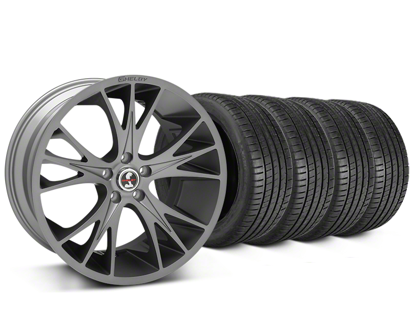 Staggered Shelby CS1 Gunmetal Wheel & Michelin Pilot Super Sport Tire Kit - 20 in. - 2 Rear Options (05-14 All)