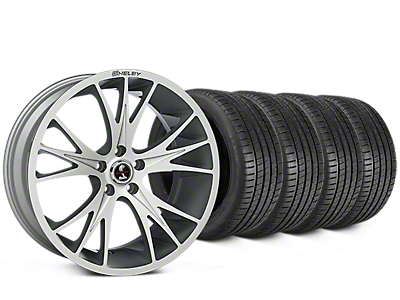 Staggered Shelby CS1 Hyper Silver Wheel & Michelin Pilot Super Sport Tire Kit - 20 in. - 2 Rear Options (05-14 All)