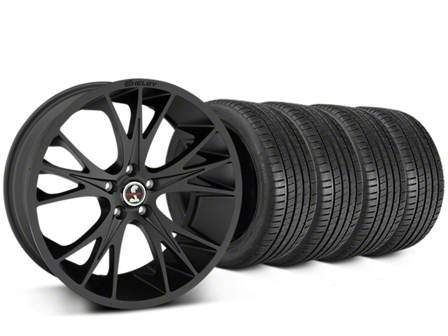 Staggered Shelby CS1 Matte Black Wheel & Michelin Pilot Super Sport Tire Kit - 20 in. - 2 Rear Options (05-14 All)