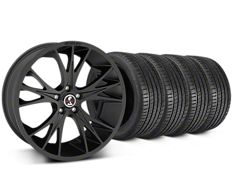 Staggered Shelby CS1 Matte Black Wheel & Michelin Pilot Super Sport Tire Kit - 20 in. - 2 Rear Options (05-14 All)