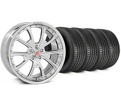 Staggered Shelby CS40 Chrome Wheel & Michelin Pilot Super Sport Tire Kit - 20 in. - 2 Rear Options (05-14 All)
