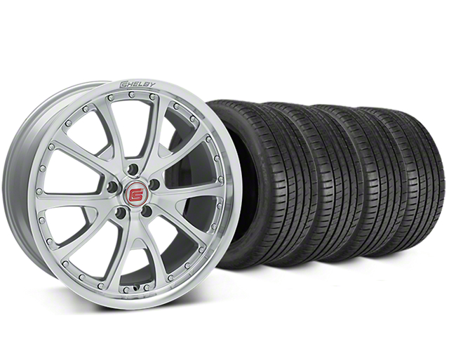 Staggered Shelby CS40 Silver Machined Wheel & Michelin Pilot Super Sport Tire Kit - 20 in. - 2 Rear Options (05-14 All)