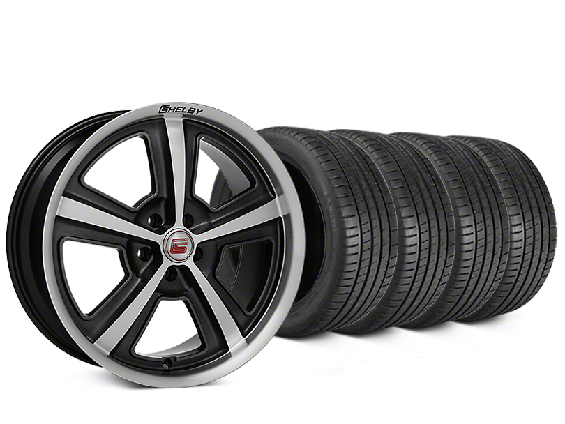 Staggered Shelby CS69 Hyper Black Wheel & Michelin Pilot Super Sport Tire Kit - 20 in. - 2 Rear Options (05-14 All)