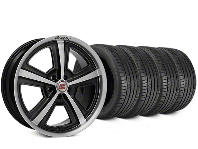 Staggered Shelby CS69 Hyper Black Wheel & Michelin Pilot Super Sport Tire Kit - 20 in. - 2 Rear Options (05-14 All)