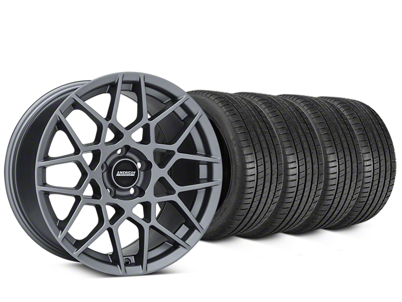 Staggered 2013 GT500 Style Charcoal Wheel & Michelin Pilot Super Sport Tire Kit - 20 in. - 2 Rear Options (15-17 All)