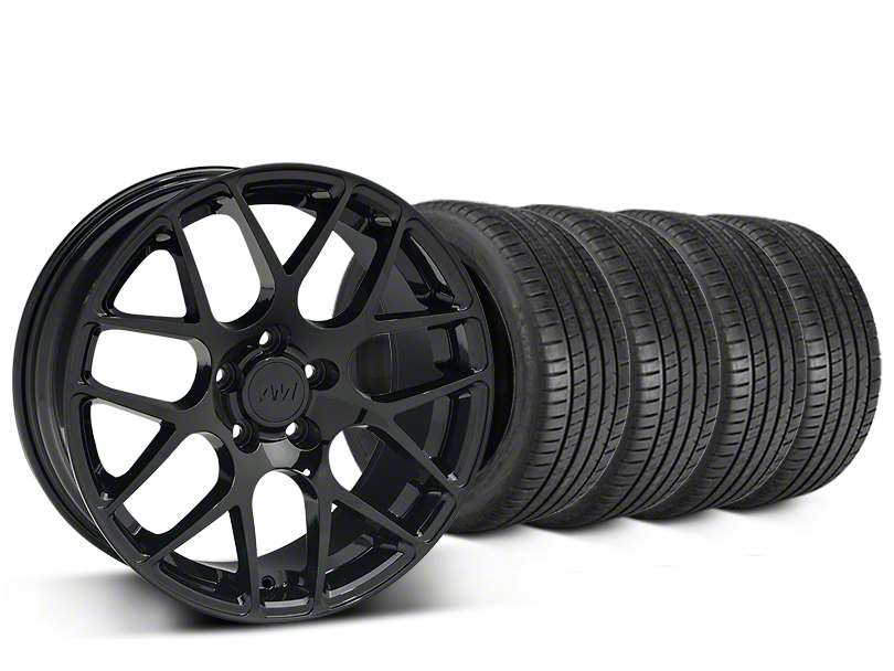 Staggered AMR Black Wheel & Michelin Pilot Super Sport Tire Kit - 20 in. - 2 Rear Options (15-19 GT, EcoBoost, V6)