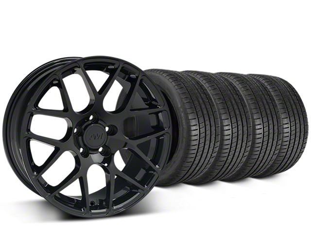 Staggered AMR Black Wheel & Michelin Pilot Super Sport Tire Kit; 20 Inch; 2 Rear Options (15-20 GT, EcoBoost, V6)