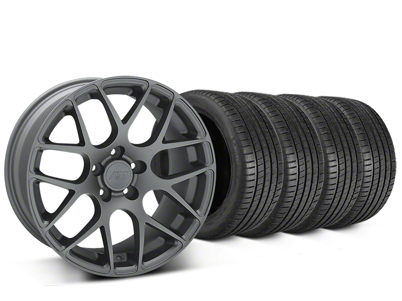 Staggered AMR Charcoal Wheel & Michelin Pilot Super Sport Tire Kit - 20 in. - 2 Rear Options (15-18 All)