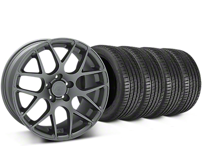 Staggered AMR Charcoal Wheel & Michelin Pilot Super Sport Tire Kit - 20x8.5/10 (15-18 GT, EcoBoost, V6)