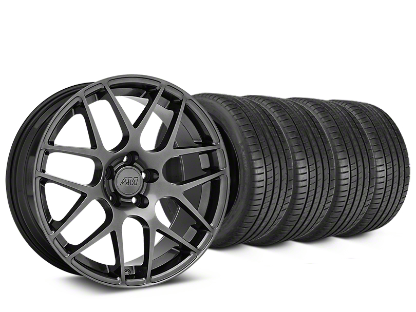 Staggered AMR Dark Stainless Wheel & Michelin Pilot Super Sport Tire Kit - 20 in. - 2 Rear Options (15-18 GT, EcoBoost, V6)