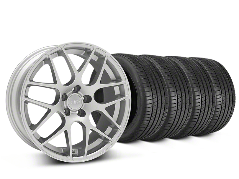 Staggered AMR Silver Wheel & Michelin Pilot Super Sport Tire Kit - 20 in. - 2 Rear Options (15-17 All)