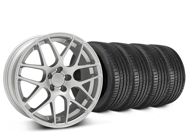 Staggered AMR Silver Wheel & Michelin Pilot Super Sport Tire Kit - 20 in. - 2 Rear Options (15-18 GT, EcoBoost, V6)