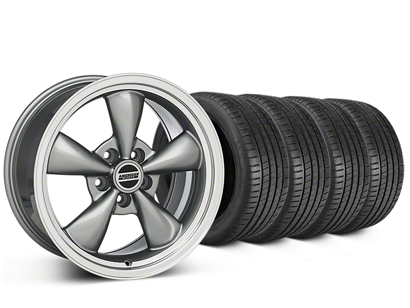 Staggered Bullitt Anthracite Wheel & Michelin Pilot Super Sport Tire Kit - 20 in. - 2 Rear Options (15-18 EcoBoost, V6)