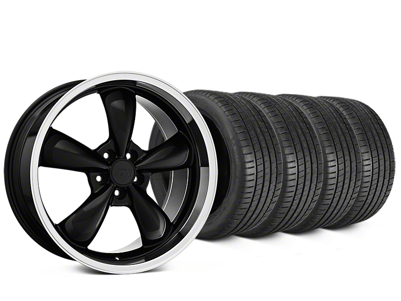 Staggered Bullitt Black Wheel & Michelin Pilot Super Sport Tire Kit - 20 in. - 2 Rear Options (15-18 EcoBoost, V6)
