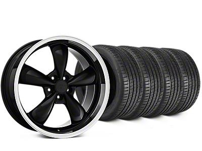 Staggered Bullitt Black Wheel & Michelin Pilot Super Sport Tire Kit - 20 in. - 2 Rear Options (15-17 All)
