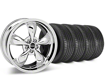 Staggered Bullitt Chrome Wheel & Michelin Pilot Super Sport Tire Kit - 20 in. - 2 Rear Options (15-18 EcoBoost, V6)