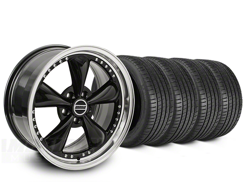Staggered Bullitt Motorsport Black Wheel & Michelin Pilot Super Sport Tire Kit - 20 in. - 2 Rear Options (15-18 EcoBoost, V6)