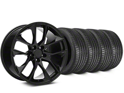 Staggered Magnetic Style Black Wheel & Michelin Pilot Super Sport Tire Kit - 20 in. - 2 Rear Options (15-17 All)