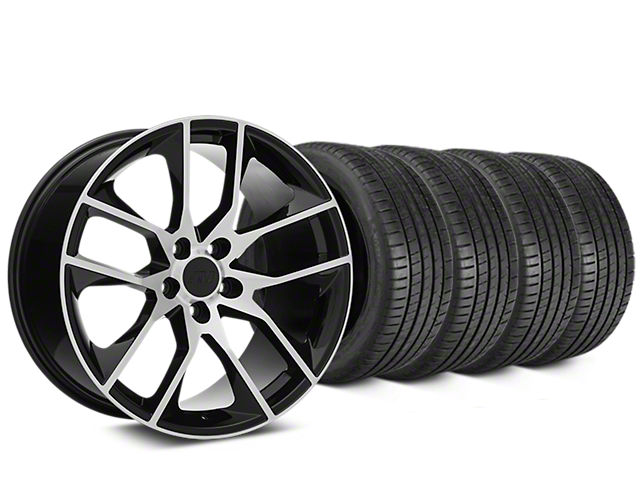 Staggered Magnetic Style Black Machined Wheel & Michelin Pilot Super Sport Tire Kit - 20 in. - 2 Rear Options (15-17 All)