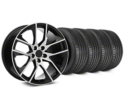 Staggered Magnetic Style Black Machined Wheel & Michelin Pilot Super Sport Tire Kit - 20 in. - 2 Rear Options (15-18 GT, EcoBoost, V6)