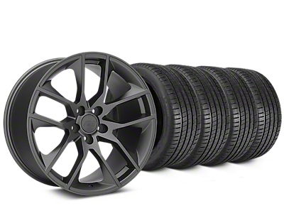 Staggered Magnetic Style Charcoal Wheel & Michelin Pilot Super Sport Tire Kit - 20 in. - 2 Rear Options (15-17 All)