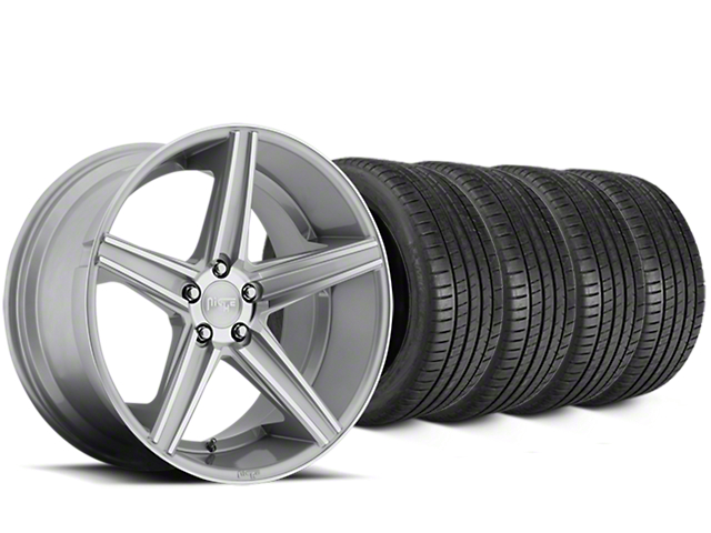 Staggered Niche Apex Machined Silver Wheel & Michelin Pilot Super Sport Tire Kit - 20 in. - 2 Rear Options (15-17 All)
