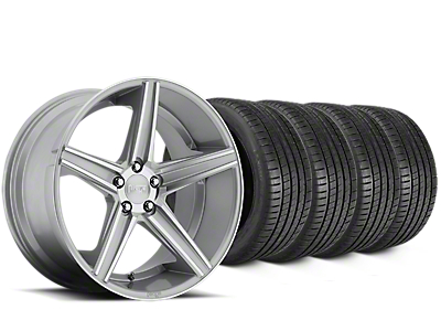 Staggered Niche Apex Machined Silver Wheel & Michelin Pilot Super Sport Tire Kit - 20 in. - 2 Rear Options (15-19 All)
