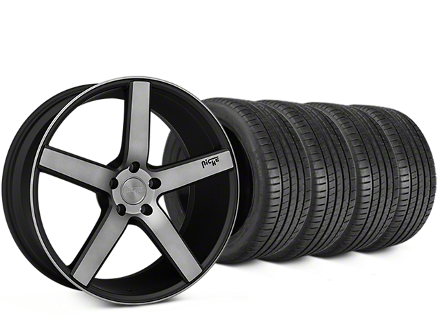 Staggered Niche Milan Matte Black Machined Wheel & Michelin Pilot Super Sport Tire Kit - 20 in. - 2 Rear Options (15-18 All)