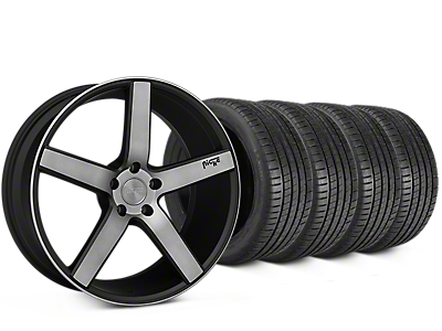 Staggered Niche Milan Matte Black Machined Wheel & Michelin Pilot Super Sport Tire Kit - 20 in. - 2 Rear Options (15-17 All)