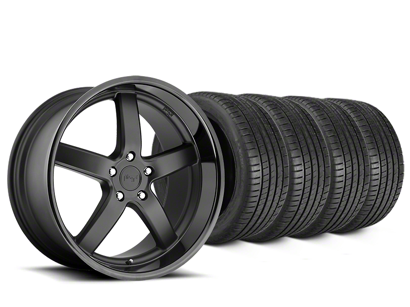 Staggered Niche Pantano Matte Black Wheel & Michelin Pilot Super Sport Tire Kit - 20 in. - 2 Rear Options (15-18 All)