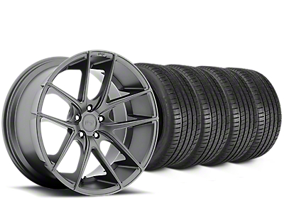 Staggered Niche Targa Matte Anthracite Wheel & Michelin Pilot Super Sport Tire Kit - 20 in. - 2 Rear Options (15-18 All)