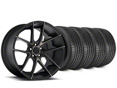 Staggered Niche Targa Matte Black Wheel & Michelin Pilot Super Sport Tire Kit - 20 in. - 2 Rear Options (15-18 All)