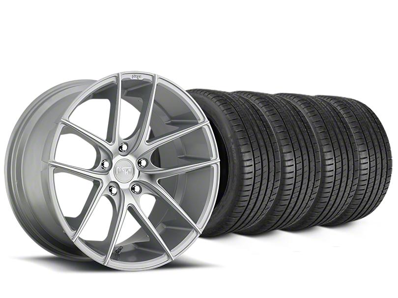 Staggered Niche Targa Matte Silver Wheel & Michelin Pilot Super Sport Tire Kit - 20 in. - 2 Rear Options (15-19 All)