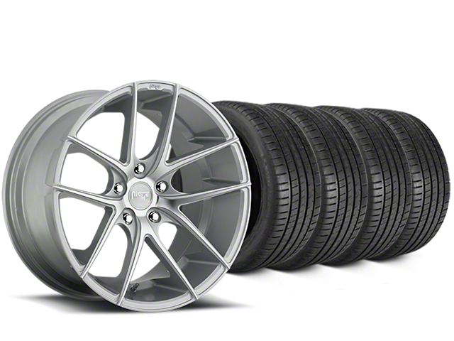 Staggered Niche Targa Matte Silver Wheel & Michelin Pilot Super Sport Tire Kit - 20 in. - 2 Rear Options (15-18 All)