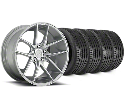 Staggered Niche Targa Matte Silver Wheel & Michelin Pilot Super Sport Tire Kit - 20 in. - 2 Rear Options (15-18 All)
