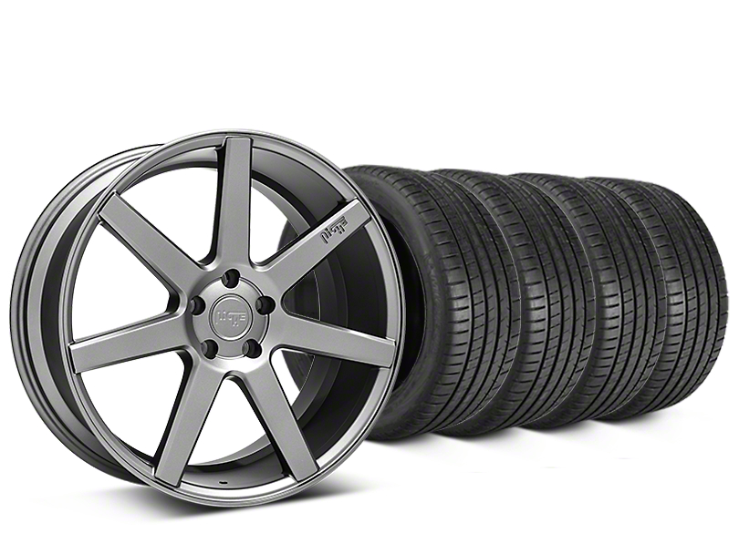 Staggered Niche Verona Anthracite Wheel & Michelin Pilot Super Sport Tire Kit - 20 in. - 2 Rear Options (15-17 All)