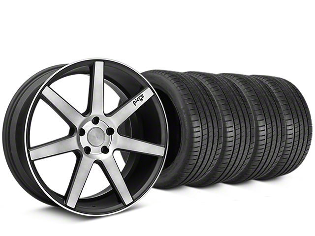 Staggered Niche Verona Double Dark Wheel & Michelin Pilot Super Sport Tire Kit - 20 in. - 2 Rear Options (15-17 All)