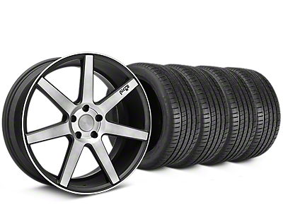 Staggered Niche Verona Double Dark Wheel & Michelin Pilot Super Sport Tire Kit - 20 in. - 2 Rear Options (15-18 All)