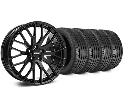 Staggered Performance Pack Style Black Wheel & Michelin Pilot Super Sport Tire Kit - 20 in. - 2 Rear Options (15-17 All)