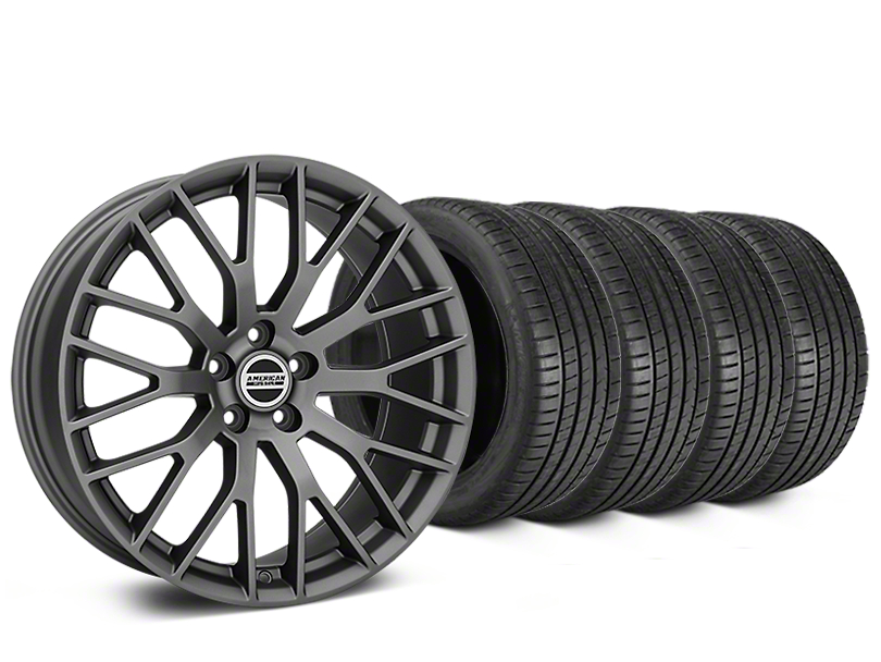 Staggered Performance Pack Style Charcoal Wheel & Michelin Pilot Super Sport Tire Kit - 20 in. - 2 Rear Options (15-19 All)