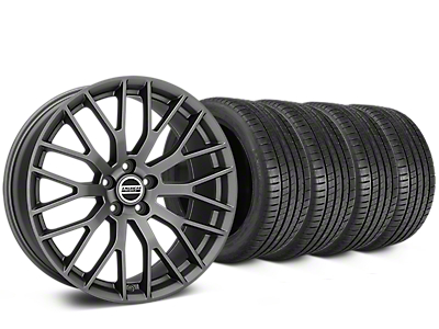 Staggered Performance Pack Style Charcoal Wheel & Michelin Pilot Super Sport Tire Kit - 20 in. - 2 Rear Options (15-18 All)